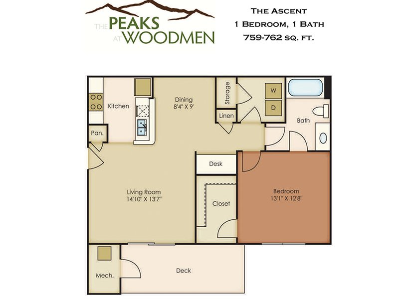 Our Ascent is a 1 Bedroom, 1 Bathroom Apartment