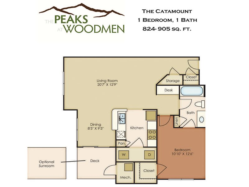 Our Catamount is a 1 Bedroom, 1 Bathroom Apartment