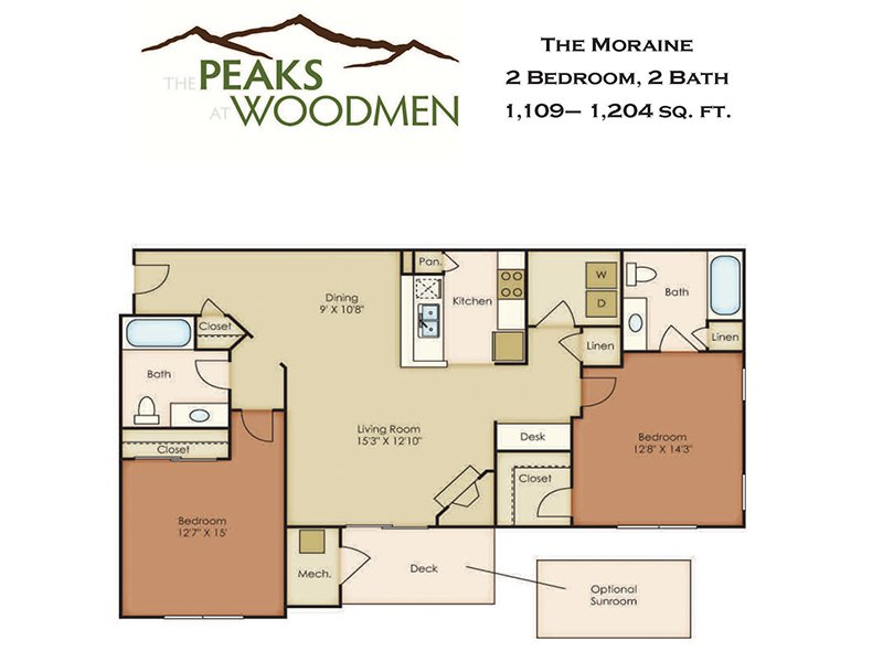 Our Moraine is a 2 Bedroom, 2 Bathroom Apartment