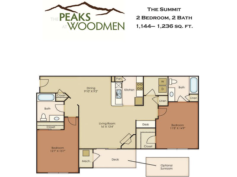 Our Summit is a 2 Bedroom, 2 Bathroom Apartment