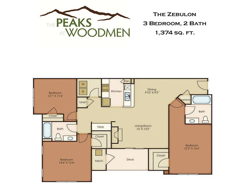 Our Zebulon is a 3 Bedroom, 2 Bathroom Apartment