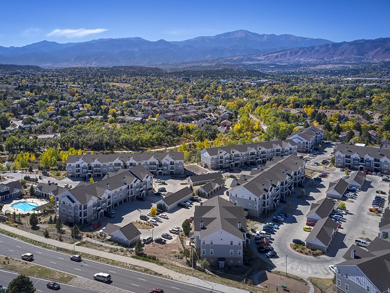 Apartment Aerial View | Peaks at Woodmen Apartments in Colorado Springs, CO