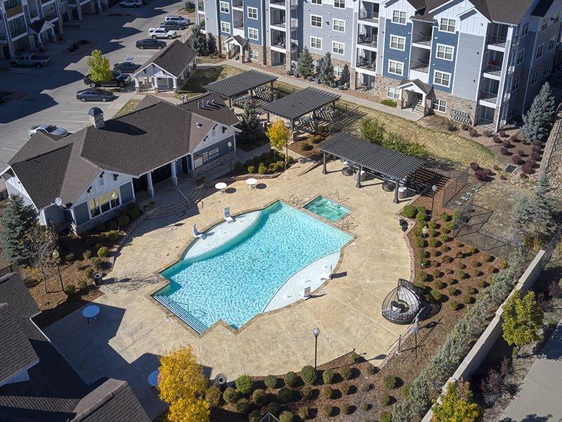 Swimming Pool Aerial View | Peaks at Woodmen Apartments in Colorado Springs, CO