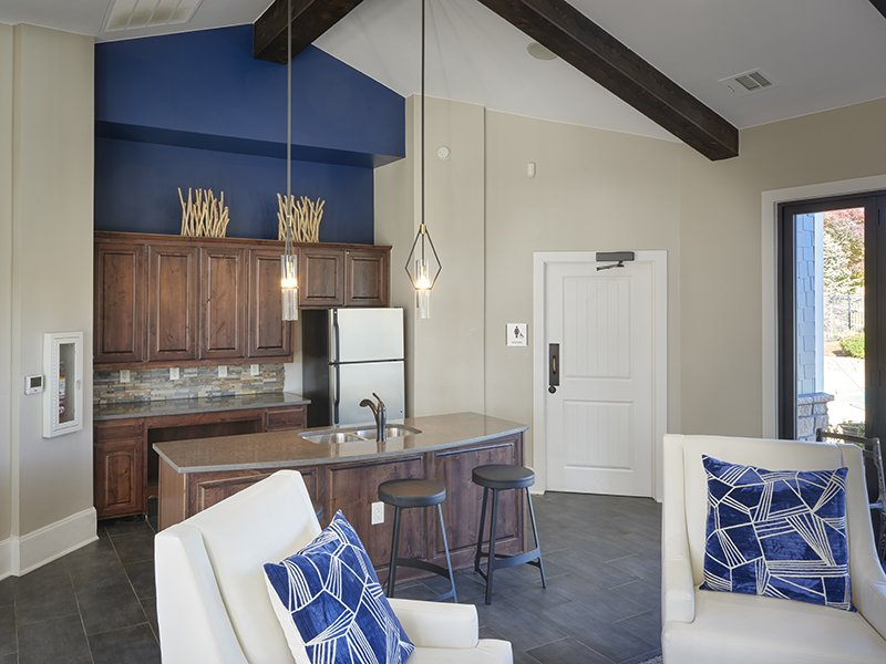 Clubhouse Kitchen | Peaks at Woodmen Apartments in Colorado Springs, CO