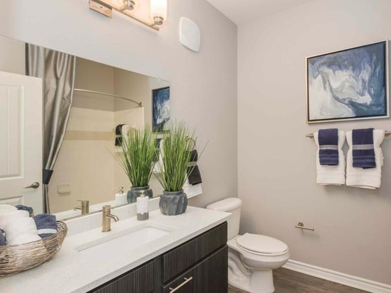 Bathroom | Peaks at Woodmen Apartments