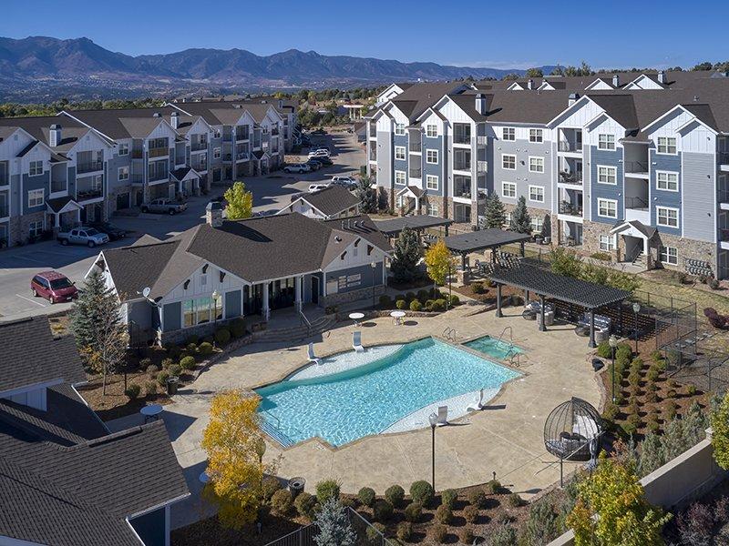Pool Aerial View | Peaks at Woodmen Apartments in Colorado Springs, CO