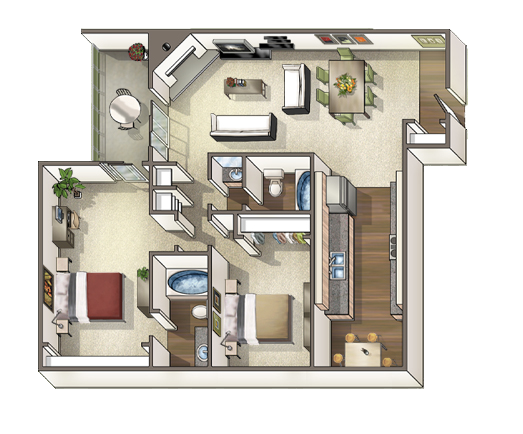 Floorplan for Axis at Nine Mile Station Apartments