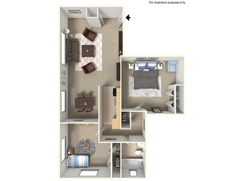 Our 21B is a 2 Bedroom, 1 Bathroom Apartment