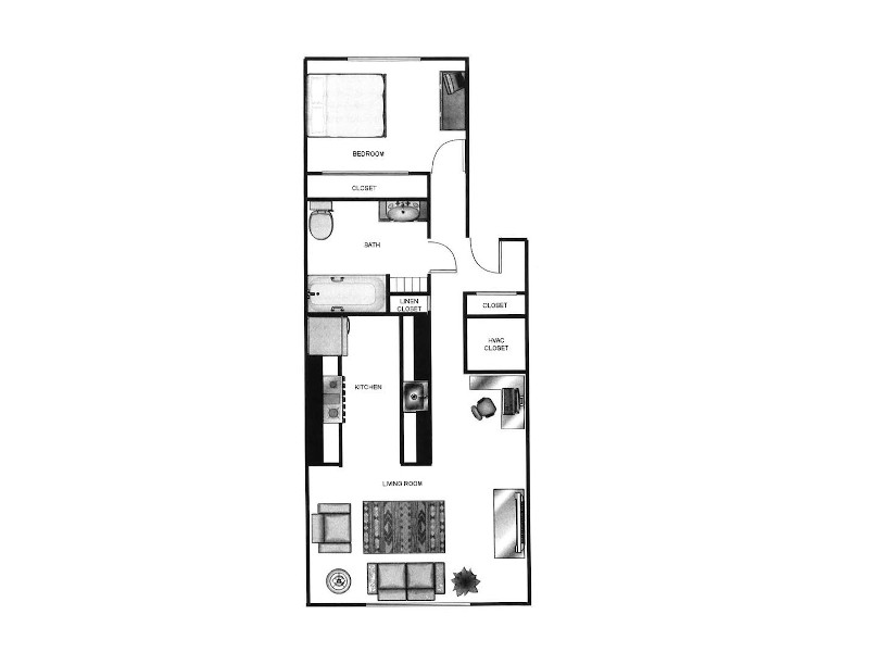 Our 1x160 is a 1 Bedroom, 1 Bathroom Apartment
