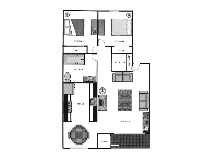 Our 2x135 is a 2 Bedroom, 1 Bathroom Apartment