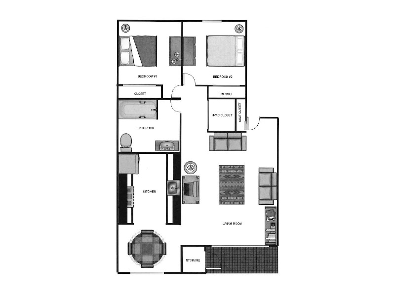 Our 2x160 is a 2 Bedroom, 1 Bathroom Apartment
