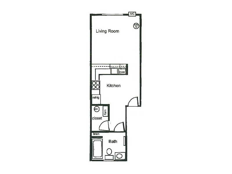 Our Stu35 is a STUDIO Bedroom, 1 Bathroom Apartment