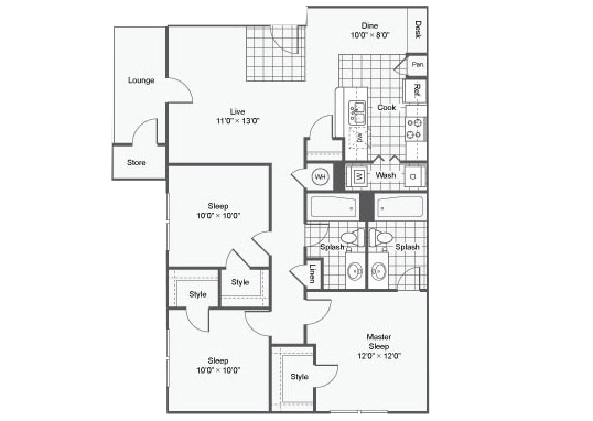 Floorplan for Elevate at Red Rocks Apartments