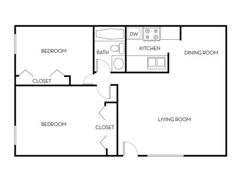 Our 2x1A is a 2 Bedroom, 1 Bathroom Apartment