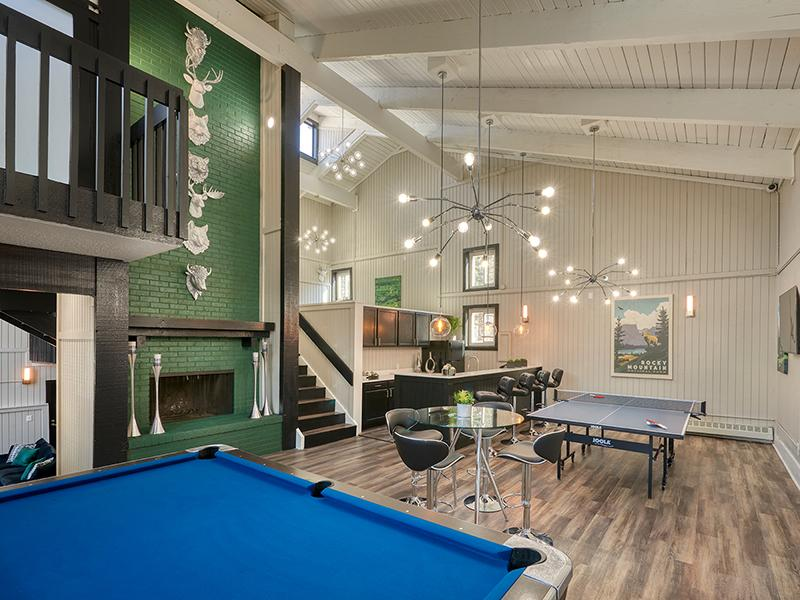 Apartment Clubhouse Featuring Pool Table & Fireplace | Park at Palmer