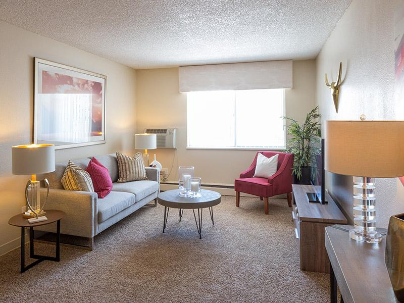 Living Room Overview | Timber Lodge Apartments