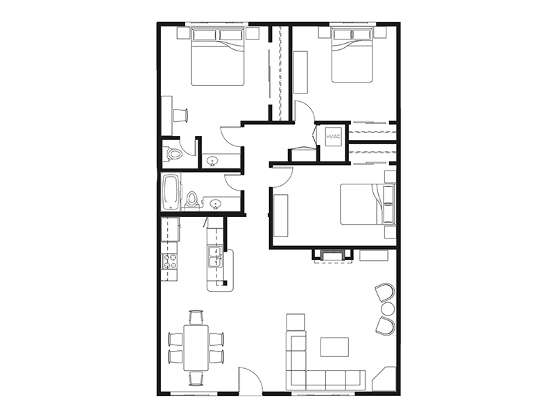 Our 3X1.5 R is a 3 Bedroom, 1.5 Bathroom Apartment