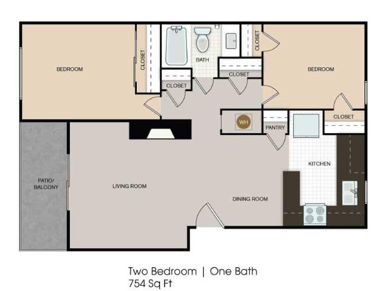 Our 2x1 Enhanced is a 2 Bedroom, 1 Bathroom Apartment