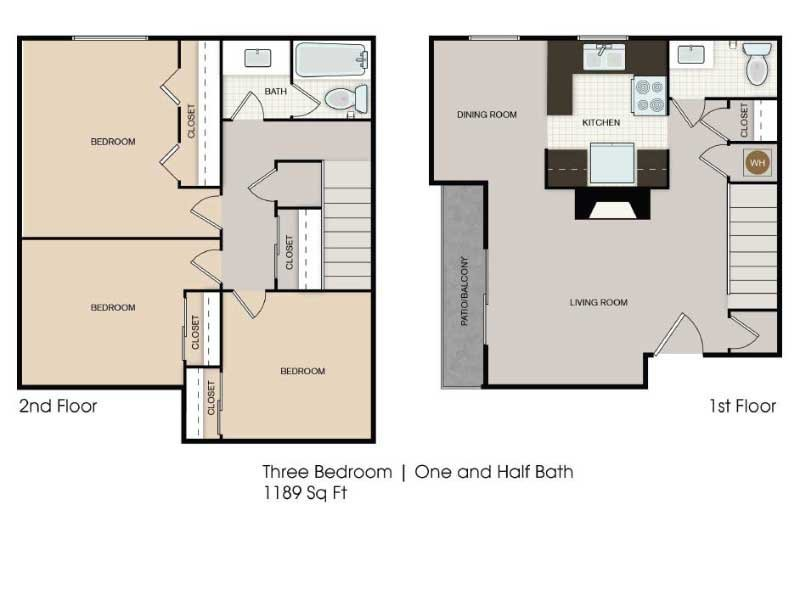Our 3x1.5 Town Enhanced is a 3 Bedroom, 1.5 Bathroom Apartment