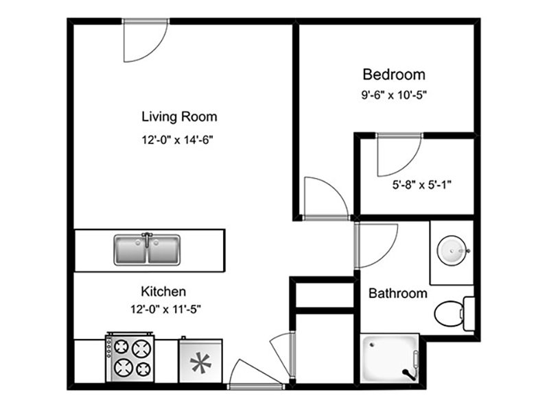 Our 1C is a 1 Bedroom, 1 Bathroom Apartment
