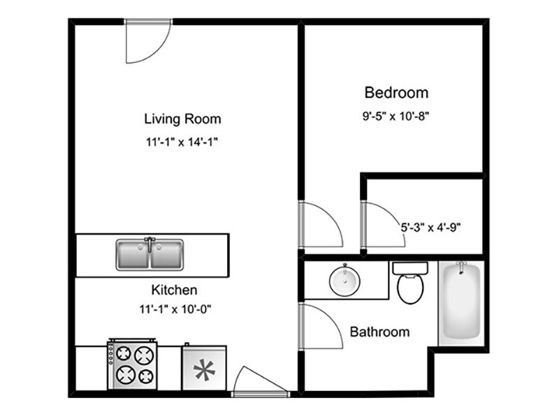 Our 1E is a 1 Bedroom, 1 Bathroom Apartment