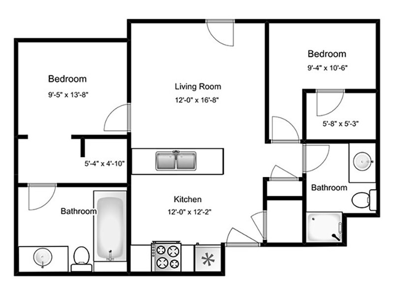 Our 2B is a 2 Bedroom, 2 Bathroom Apartment