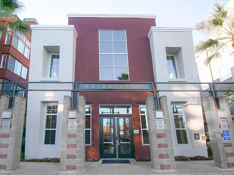 Entrance of Bridgecourt Apartments in Emeryville