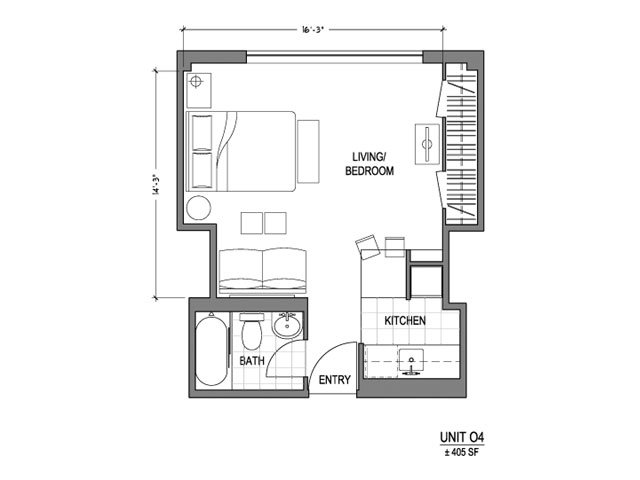 Our 0X1_405 is a Studio Bedroom, 1 Bathroom Apartment