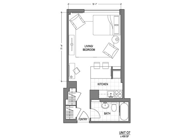 Our 0X1_450 is a Studio Bedroom, 1 Bathroom Apartment
