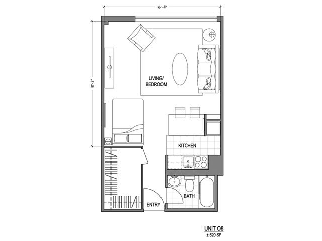 Our 0X1_520 is a Studio Bedroom, 1 Bathroom Apartment