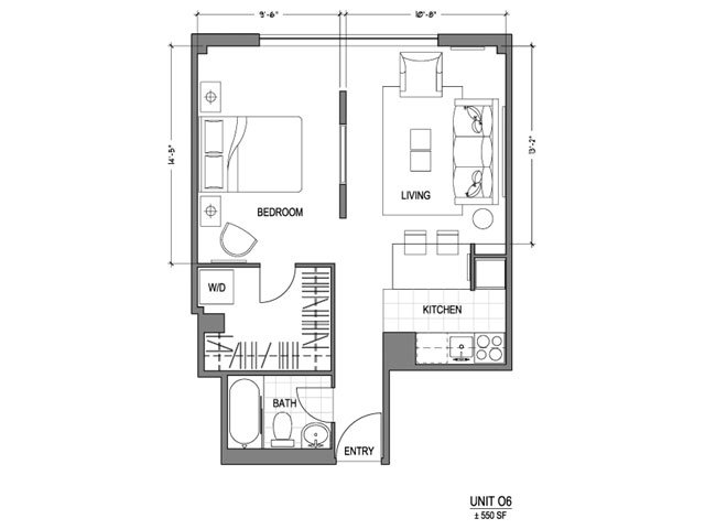 Our 1X1_550 is a 1 Bedroom, 1 Bathroom Apartment