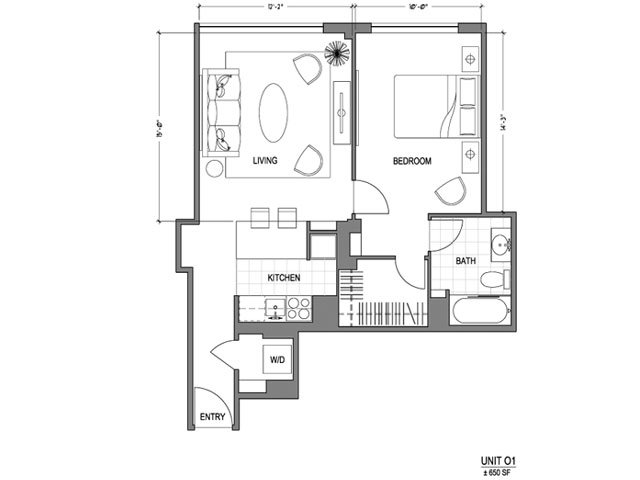 Our 1X1_650 is a 1 Bedroom, 1 Bathroom Apartment