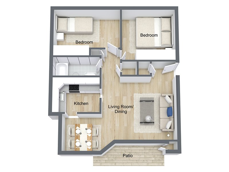 Our Dogwood is a 2 Bedroom, 1 Bathroom Apartment