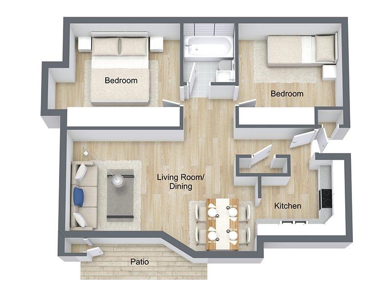 Our Fir is a 2 Bedroom, 1 Bathroom Apartment