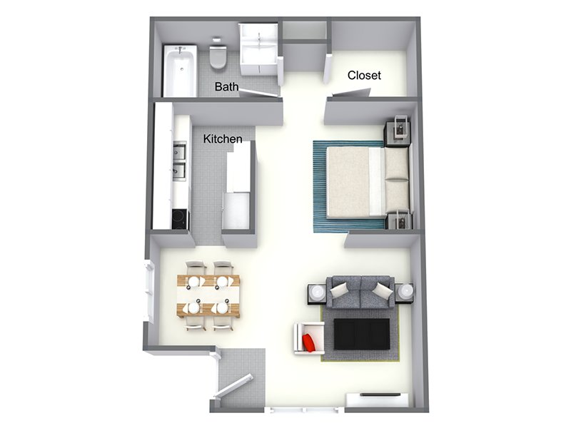 Our 1x1B is a 1 Bedroom, 1 Bathroom Apartment