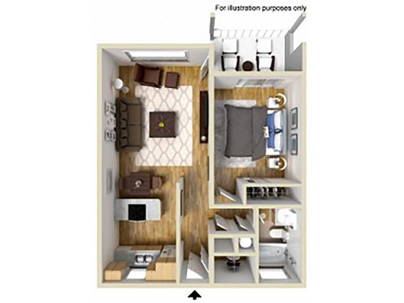 Our 1 Bedroom 1 Bathroom B is a 1 Bedroom, 1 Bathroom Apartment