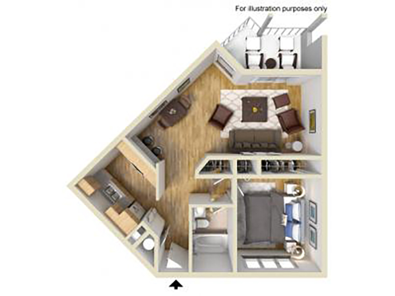 Our 1 Bedroom 1 Bathroom D is a 1 Bedroom, 1 Bathroom Apartment