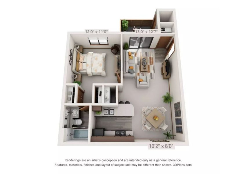 Our 1x1LTRCK is a 1 Bedroom, 1 Bathroom Apartment