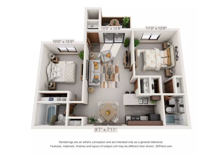Our 2x2FTRCK is a 2 Bedroom, 2 Bathroom Apartment