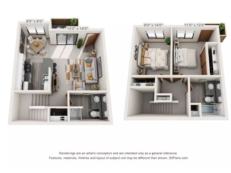 Our 2x2TTRCK is a 2 Bedroom, 2 Bathroom Apartment