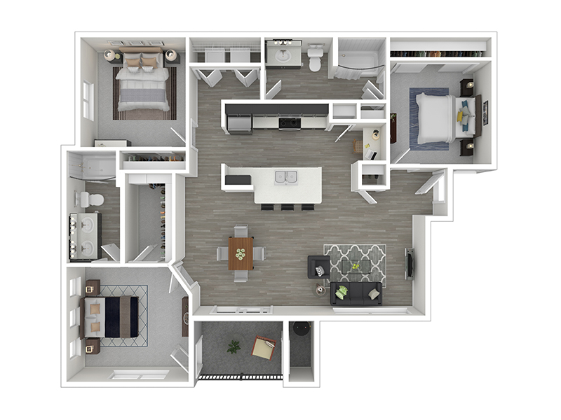 Our C1 - 3 Bedroom 2 Bath is a 3 Bedroom, 2 Bathroom Apartment