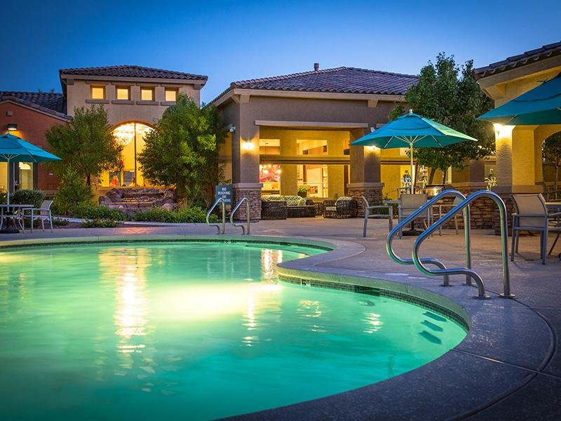 Exterior Pool At Night | Cornerstone Park 89074 Apartments