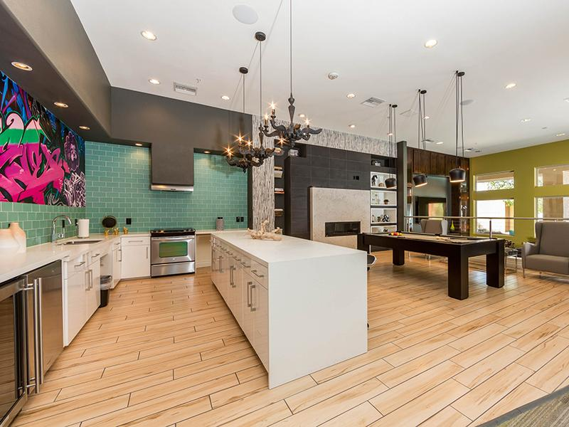 Clubhouse Kitchen | Cornerstone Park Apartments in Henderson NV