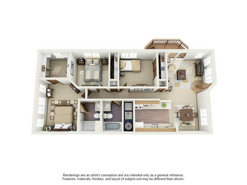 Our 3X2A is a 3 Bedroom, 2 Bathroom Apartment