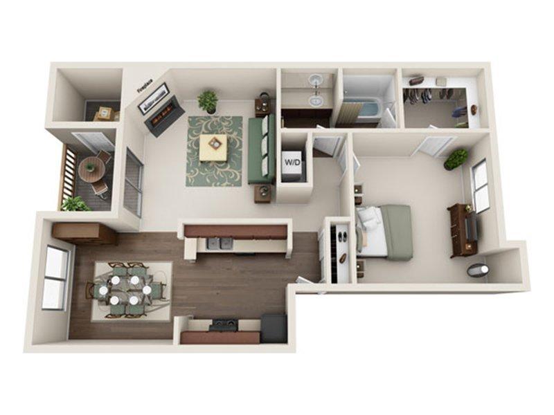 Our 1x1 W/D Enhanced is a 1 Bedroom, 1 Bathroom Apartment