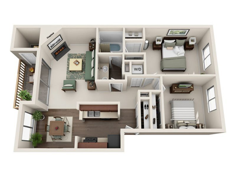 Our 2x1 W/D is a 2 Bedroom, 1 Bathroom Apartment