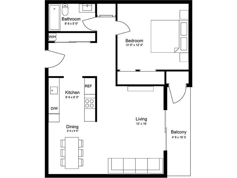 Our 1x1AR is a 1 Bedroom, 1 Bathroom Apartment