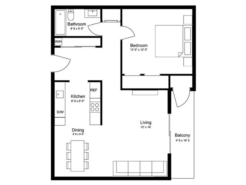 Our 1x1BR is a 1 Bedroom, 1 Bathroom Apartment