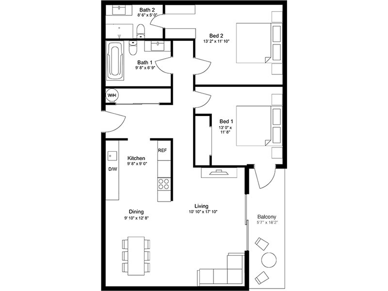 Our 2x2A is a 2 Bedroom, 2 Bathroom Apartment
