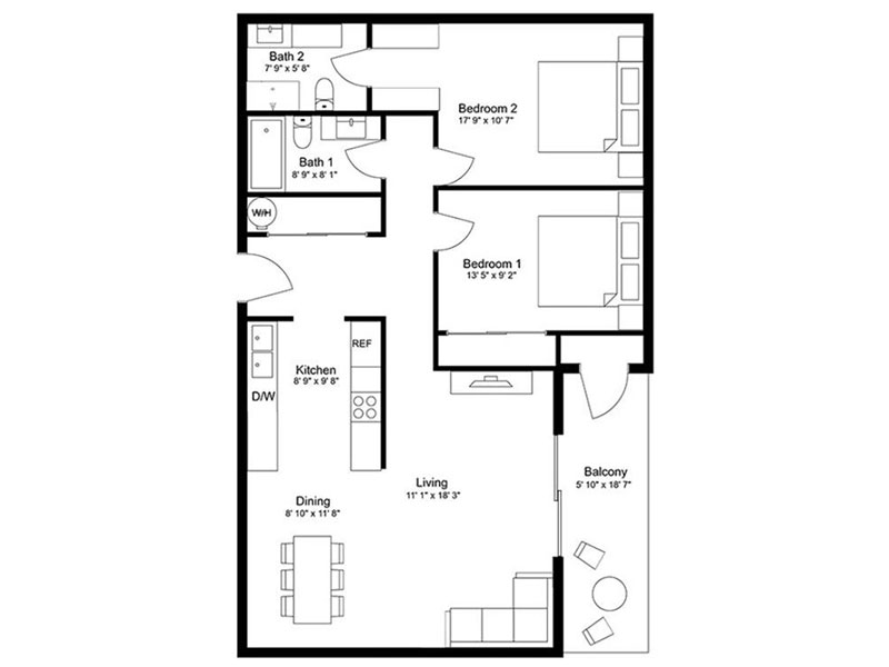 Our 2x2D Renovated is a 2 Bedroom, 2 Bathroom Apartment